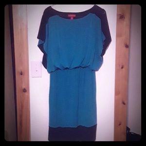 Aqua and black dress